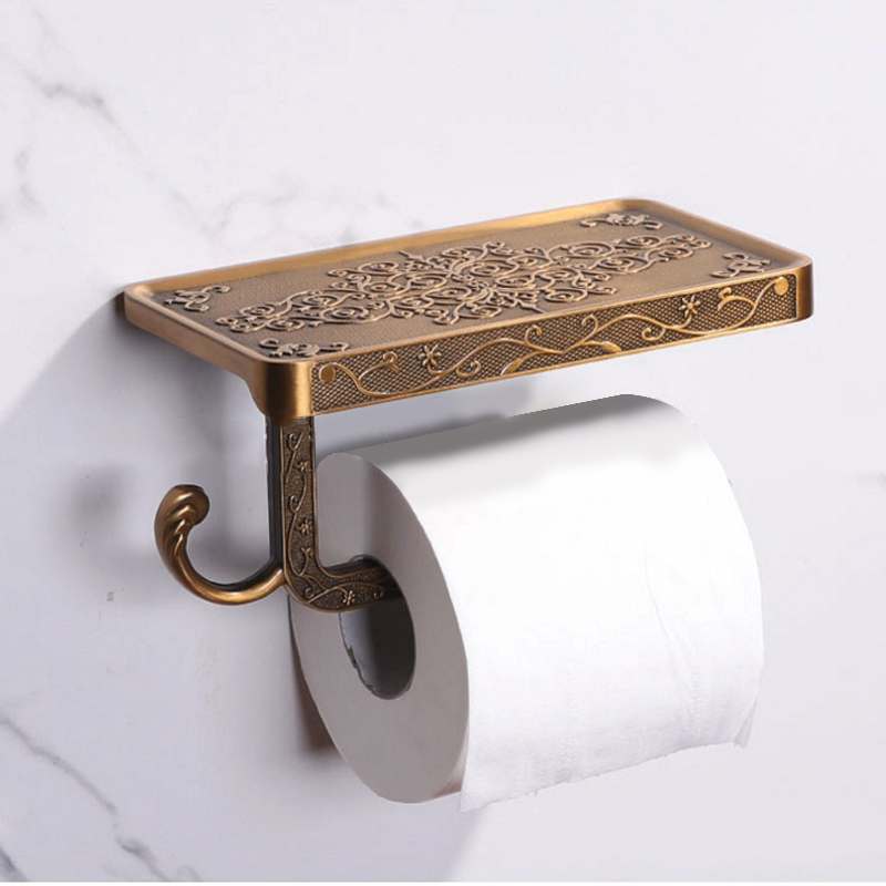 Bathroom Towel Rack Toilet Paper Holder Antique Carved Zinc Alloy Bathroom Paper Mobile Phone Holder With Shelf Tissue Boxes