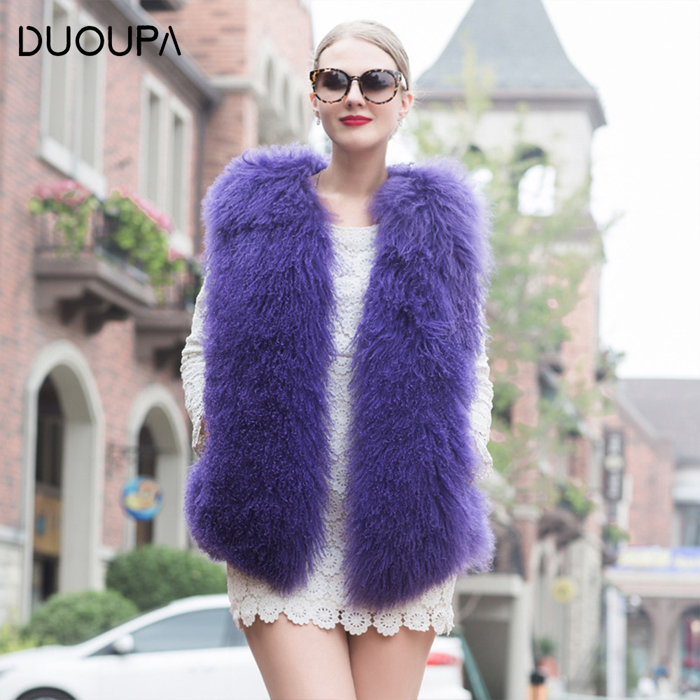 DUOUPA Real Fur Coat Winter Women  Fashion Casual Warm Slim Sleeveless real wool Vest Jacket casaco feminino