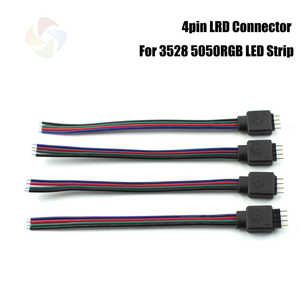 1 RGB Male Connector 130mm 4Pin Cable 3528 5050 LED Strip/String ,No Need Soldering - Bosonda Led Store store