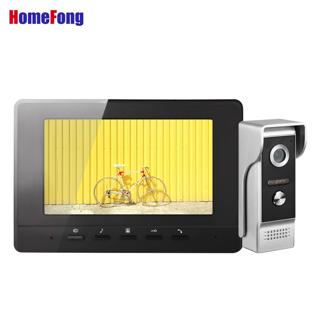 Homefong  7 Inch Video Intercom  Door Phone Video Call With Camera 1000TVL Home Intercom Black Unlock Ring Selection Waterproof
