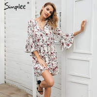Simplee Boho Floral Print V Neck Short Dress Women Hollow Out Flare Sleeve Loose Summer Dress