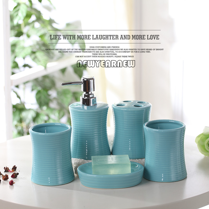 newyearnew fashion ceramic bathroom 5 piece set bathroom accessories set highgrade wash gargle cup