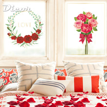 DICOR Red Rose Glass Sticker Flowers Bouquet Wreath For Wedding Decor Gift Girl BLT2171AB