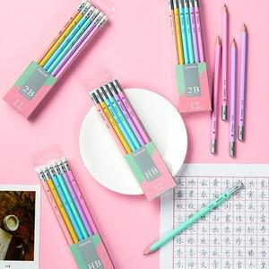 Image 2 - Makro Lapices öğrenciler Kawaii kalem renkli altıgen kalem 2B HB yazma kalemler Lapices silgi ile güvenli toksik olmayan Papeleria