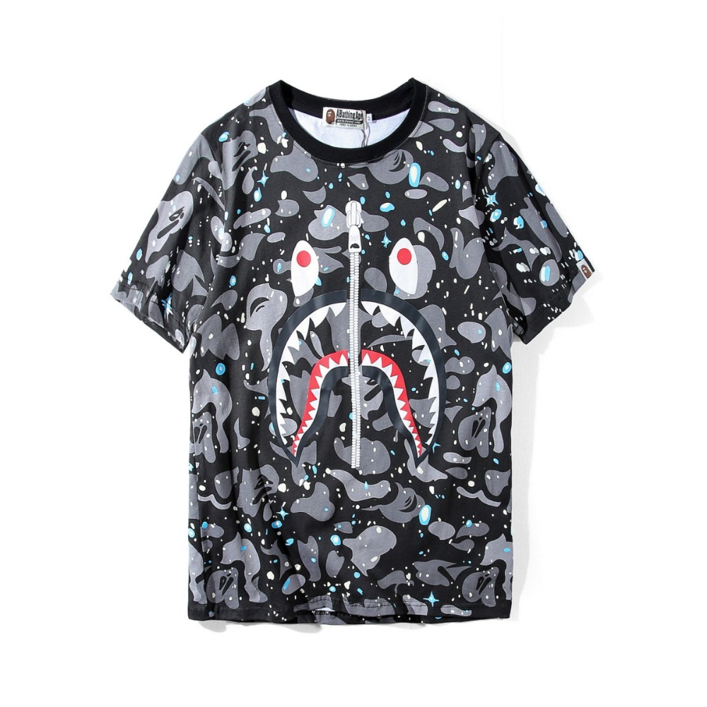 Bape t-shirt short sleeve zipper shark cotton bathing ape