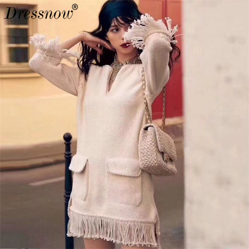 High Quality Dress Women White Cotton Sweater Dresses for Party New Arrival High Street Style Dress