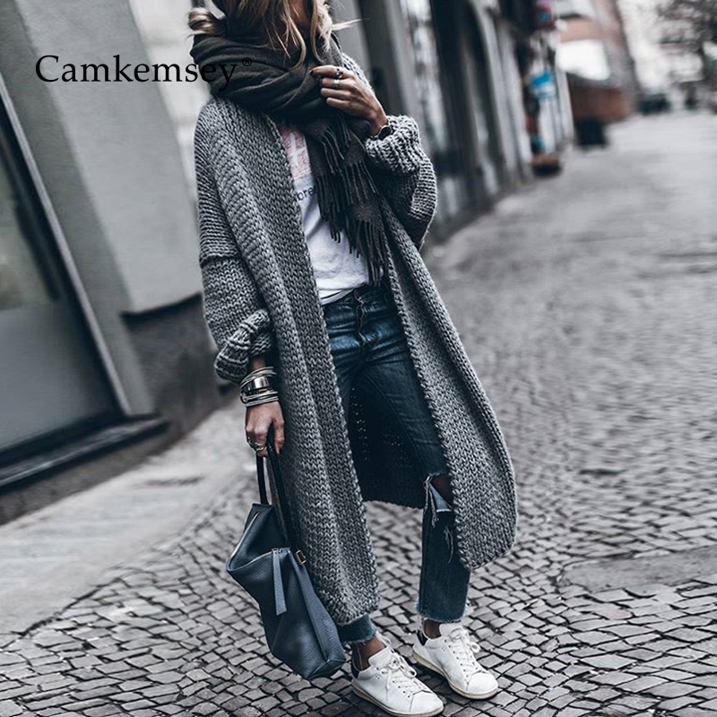 CamKemsey 2019 New Women Winter Knitted Cardigan Sweater Lady Autumn Long Sleeve Thick Warm Long Cardigan