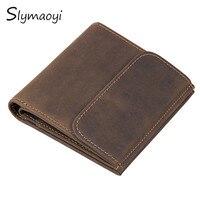Slymaoyi Genuine Leather Men Wallet Small Men Walet Vintage Hasp Male Portomonee Short Coin Purse Brand