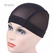 12 sztuk/partia czarny, beżowy Dome Cornrow peruka czapki łatwiejsze szyć w włosy rozciągliwy tkania Cap elastyczny Nylon oddychająca siatka netto hairnet
