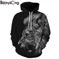 BIANYILONG New Fashion Men Women 3d Sweatshirts Print Ferocious Lion Black Thin Hooded Hoodies Pullovers Autumn