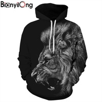 BIANYILONG New Fashion Men Women 3d Sweatshirts Print Ferocious Lion Black Thin Hooded Hoodies Pullovers Autumn