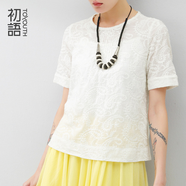 Toyouth Summer Elegant Women T-Shirts Floral Pattern Round Crew Neck Short-Sleeve T-Shirts Female White Tops