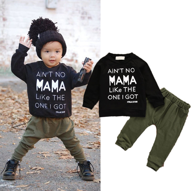 2018 New baby boy clothing 2 Pieces set long-sleeved T-shirt + pants Mamas boy Infant Toddle Child baby girls clothes
