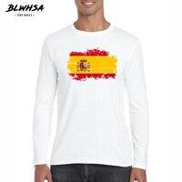 BLWHSA Brand Clothing Men T-shirts Long Sleeved Spain Flag Nostalgic Style Casual Cotton O-neck Spain Patriot Men T Shirts