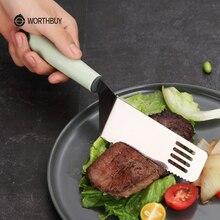 WORTHBUY кухонная утварь из нержавеющей стали лопатка кухонная посуда пластиковая ручка стейк мясо лопатка Черпак Инструменты для барбекю