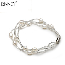 Bridal Jewelry Wedding Women Lover Natural Real White Freshwater Pearl Bracelet Multilayer Magnet buckle