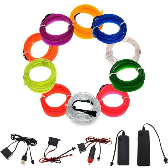 3V/5V/12V Neon Light 6mm Sewing Edge EL Wire Led Dance Party Decor Car Lights Neon LED lamp Flexible 2.3MM Rope Tube LED Strip