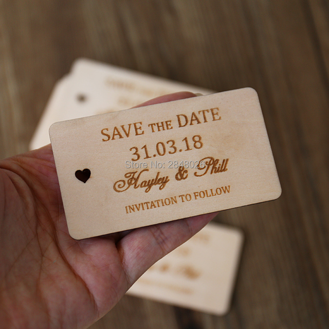 Custom Wooden Save The Date Tag Rustic Wedding Favor Tags