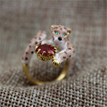 Les nereides leopard enamel red crystal ring opening