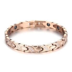 Image 2 - NHGBFT pulsera de acero inoxidable de Color dorado para hombre y mujer, brazalete de cristal negro con movimiento saludable, Color rosa nuevo