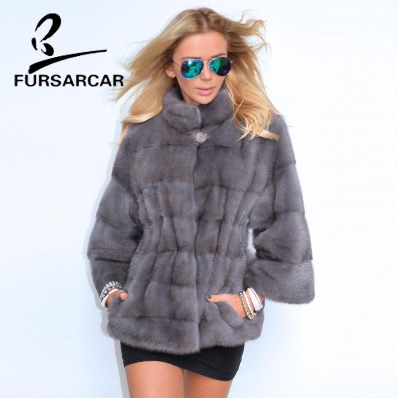 FURSARCAR 2018 nuevos abrigos de pieles reales mujeres desmontable manguito manga chaqueta de invierno con cuello de piel Mujer de lujo abrigo de piel de visón