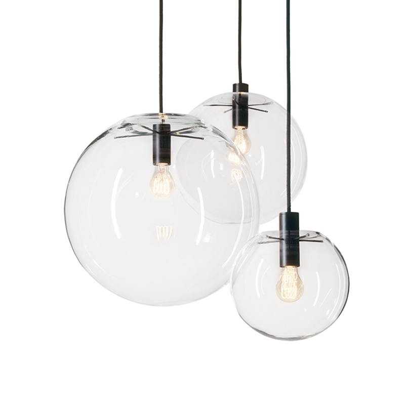 GZMJ Holiday Lucky Modern Nordic Rose Gold Black Moonlight Glass Ball LED <font><b>Pendant</b></font> <font><b>Light</b></font> Lamp Luster Dining Room <font><b>Bar</b></font> Restaurant image