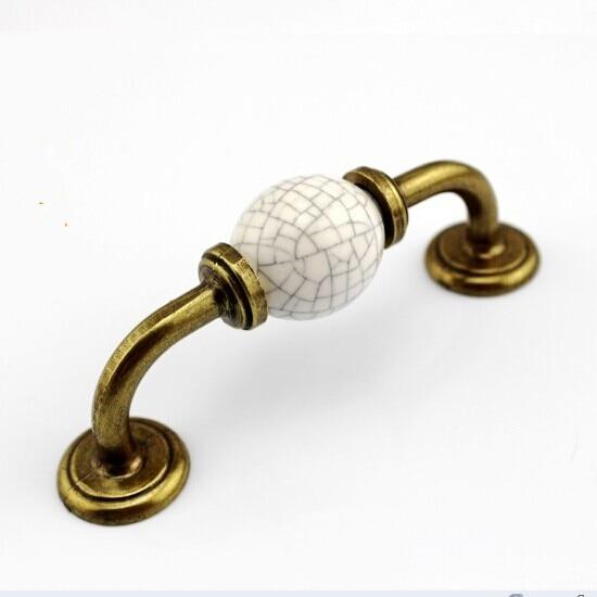 96mm Crack Ceramic Kitchen Cabinet Pulls Bronze Dresser Handles Antique  Brass Drawer Wardrobe Furniture Handles Pulls Knobs TC53