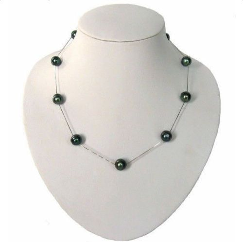 "huij 001949 CHARMING 18"" 10-11MM NATURAL TAHITIAN GENUINE BLACK PEARL NECKLACE 5.3"