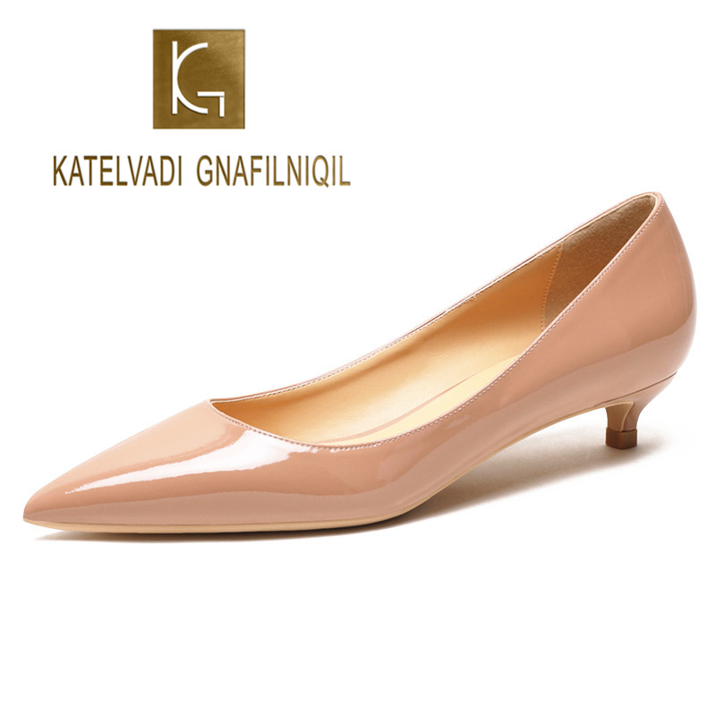 KATELVADI New Nude Shoes Women Patent PU Big Size Office Lady Shoes Pointed Toe Women Wedding