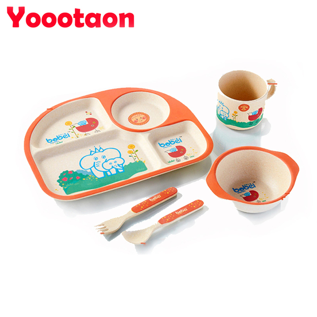 Bamboo fiber children tableware 5pcs/set  baby dishes Plate bow cup Forks Spoon Dinnerware feeding Set food container vs pratos