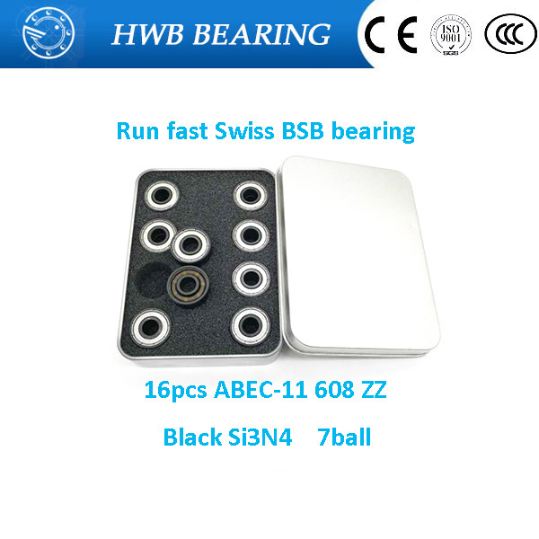 Free shipping 608z swiss BSB ABEC-11 Black 7 Si3N4 Balls Hybrid Ceramic for skateboard  Hand Spinner Skate Roller 8*22*7mm