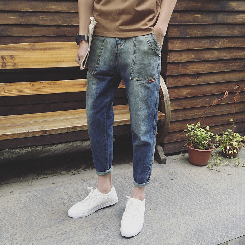2018 Cowboy Nine Part Pants Male Original Thin Do Used Micro Cross Teenagers Wash Joker Restore Ancient Ways Work Clothes