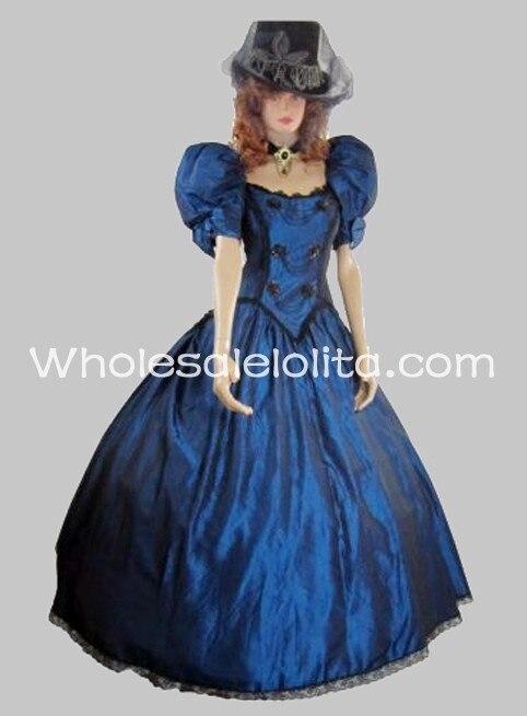 19th siècle victorien manches bouffantes gothique robe bleue robe de bal robe