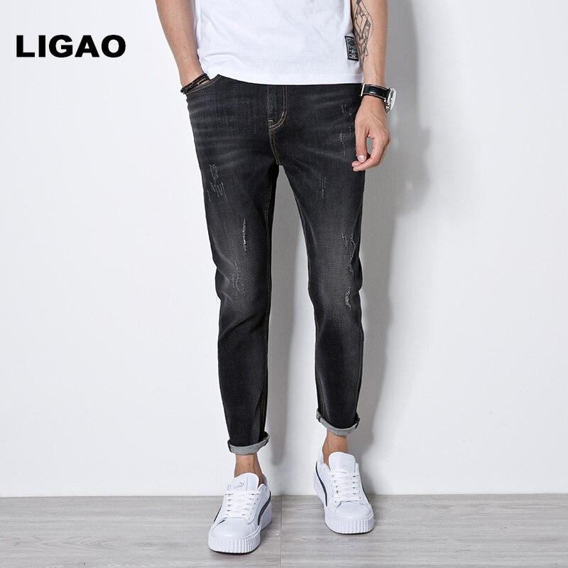 LIGAO Mens Jeans 2018 Scratched Elastic Black Men Denim Jeans Fashion Casual Simple Style Male Pencil pants Trousers Jeans