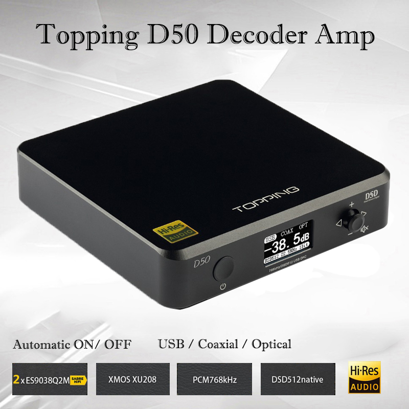Topping D50 Protable amplificador Decodificador ES9038Q2M * 2 Mini USB DAC Audio XMOS XU208 Decodificador DSD512 alimentación de alta fidelidad decodificador