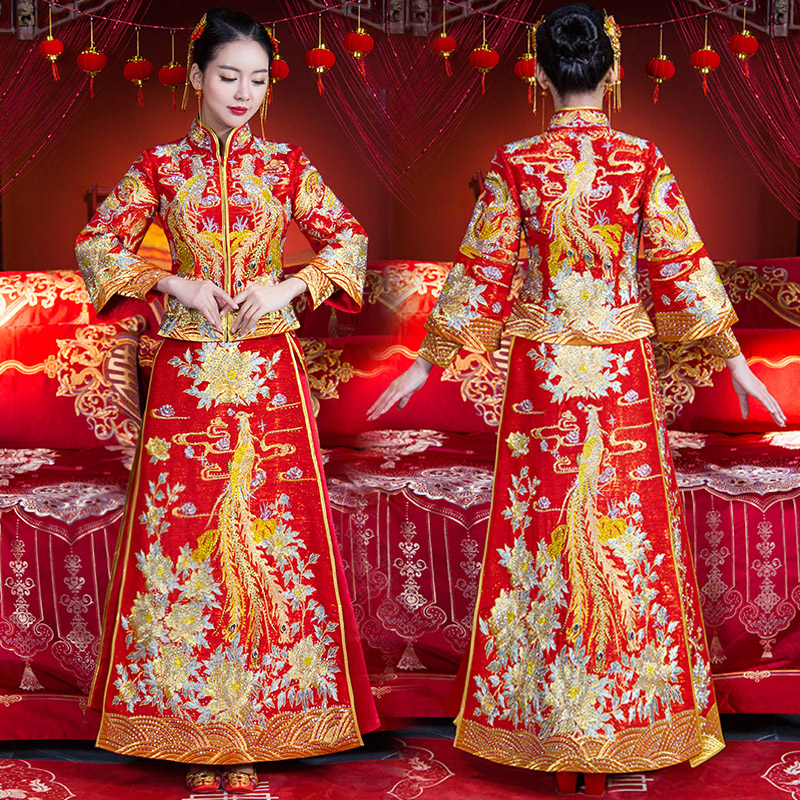 Traditional Ancient Women Marriage Suit Embroidery Phoenix&Floral Asian Bride Dress Vintage Chinese Style Wedding Cheongsam