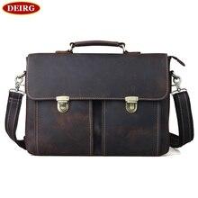 Vintage Genuine Cow Leather Men Briefcase Business Bag Handbag Fit For 14 Inch Laptop PR081119