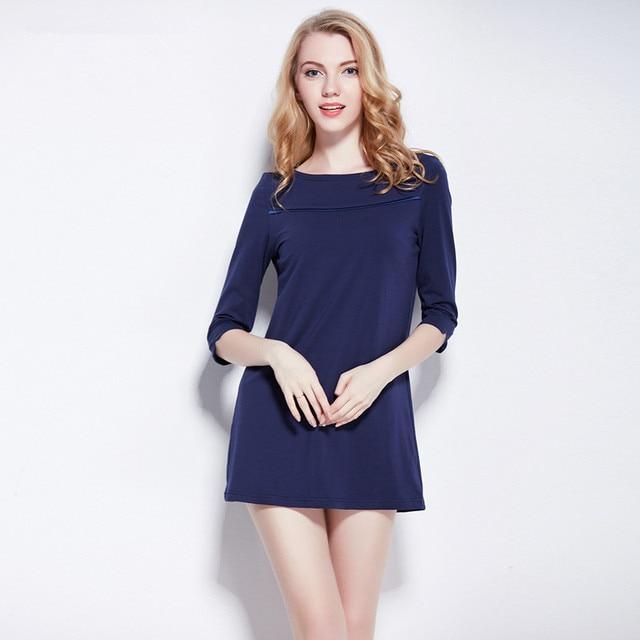 Touching Me 100% Cotton Sexy Lingerie New European Leisure Slim Womens Nightgown Blue Night Skirt Sleepwear Lady Night Dress