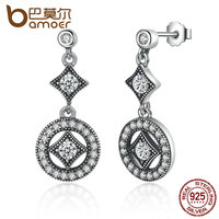 BAMOER Classic Elegant Real 925 Sterling Silver With AAA Zircon Round Long Earrings For Women Fashion