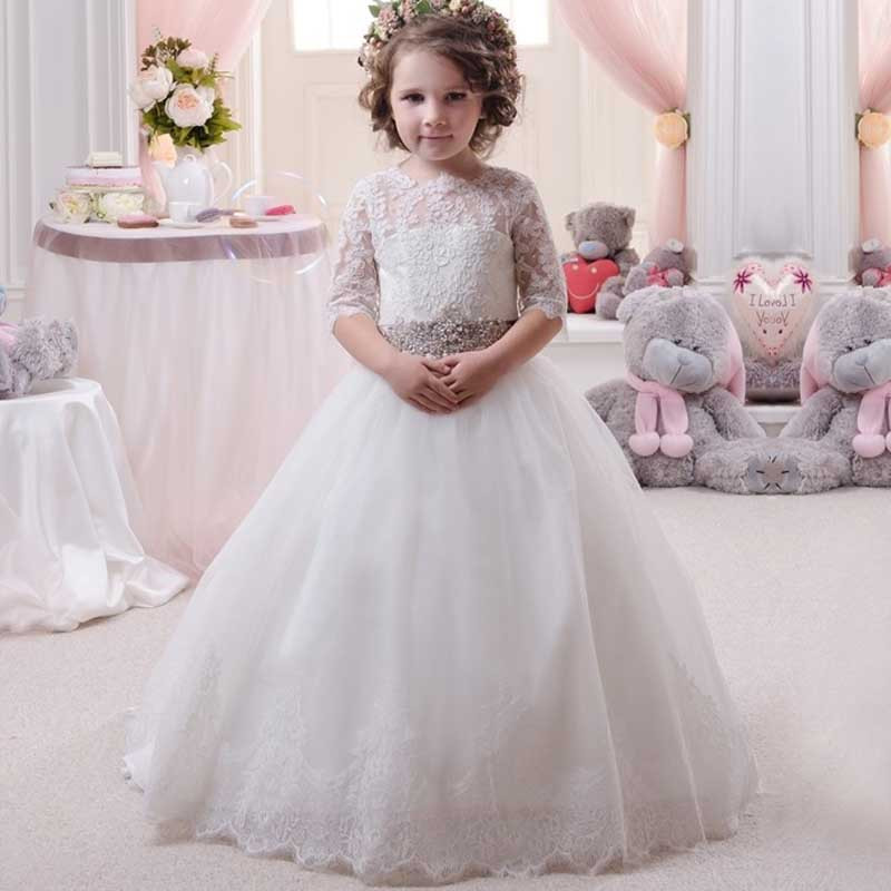 2019 New Princess First Communion Dress Lace Half Sleeves Open Back Girls Dresses for Wedding Birthday Gown Train White Ivory green crew neck roll half sleeves mini dress