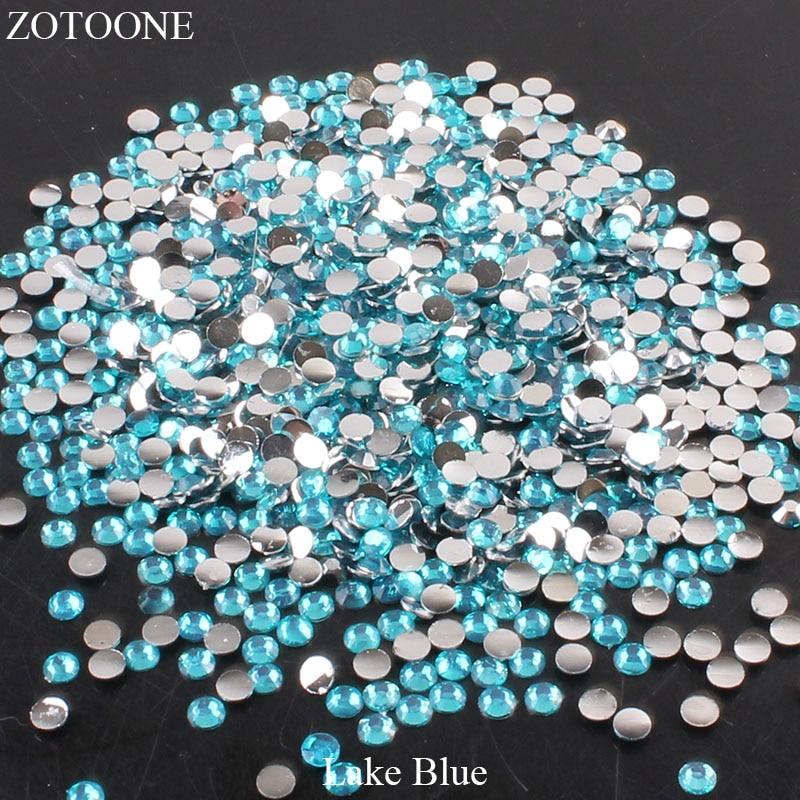 ZOTOONE 2-6 мм 1000 шт прозрачные Стразы AB без горячей фиксации плоские с оборота Стразы для ногтей для одежды ногти 3D дизайн ногтей украшения