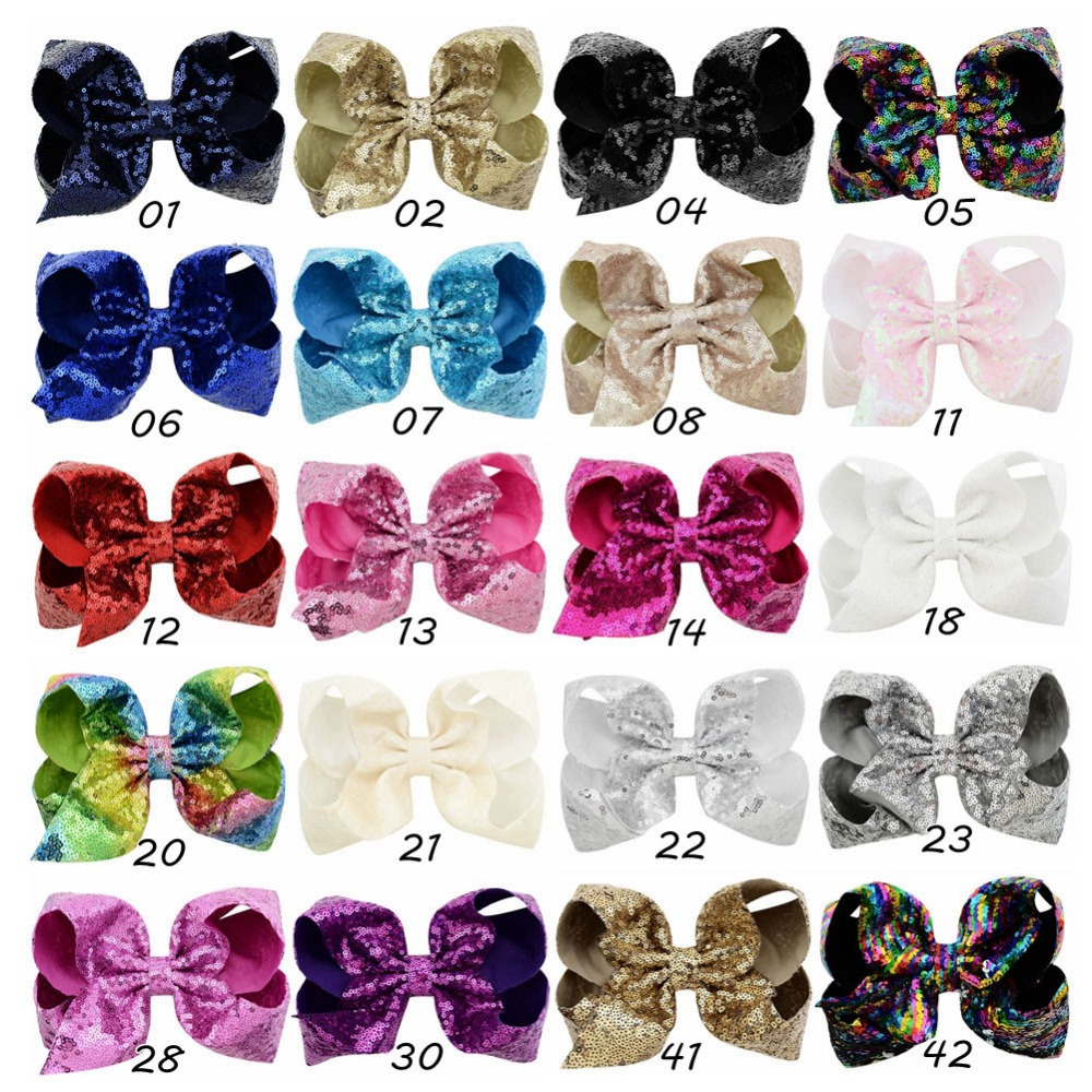Big 8 Inch Sparkly Glitter Sequins Hair Bows Alligator Hair Clips for Girls 12pc