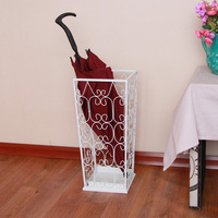 Wrought iron umbrella stand umbrella tube fashion umbrella bucket floor household square white umbrella storage rack