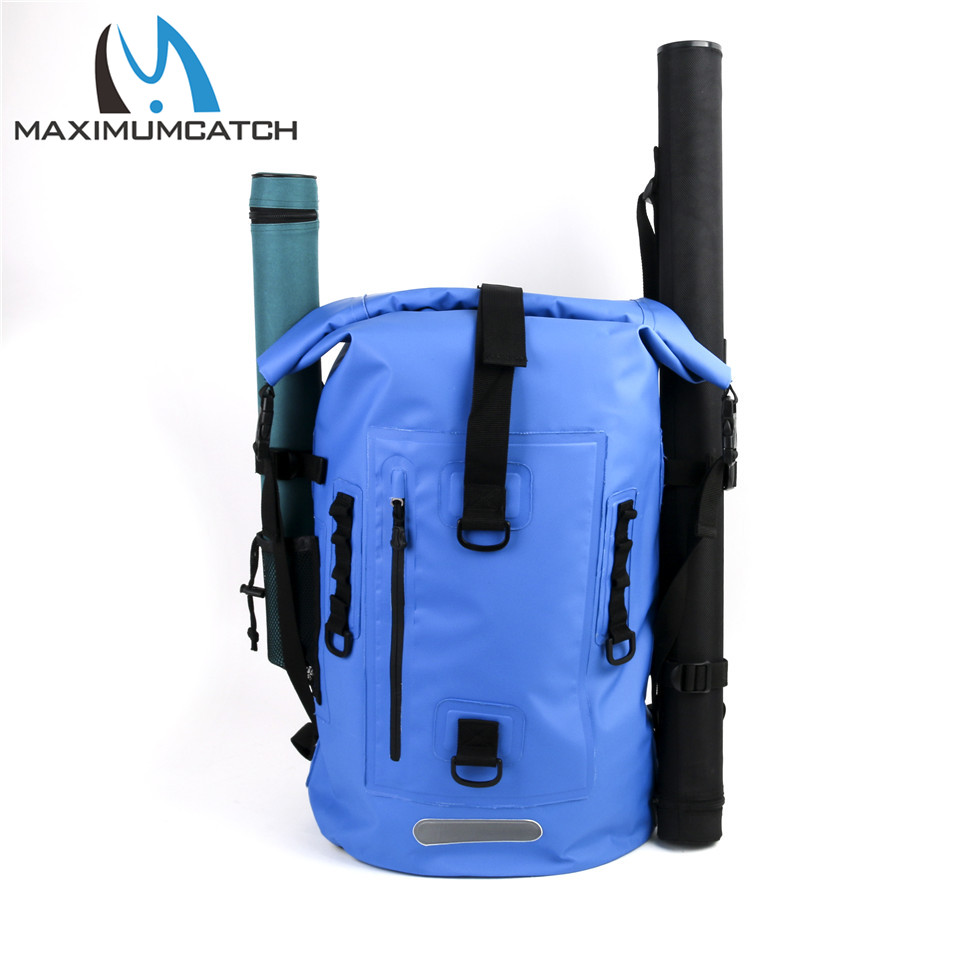 Maximumcatch High Quality Dry Backpack Waterproof Fishing Bag Ultra-durable 500D PVC Watershed Fly Fishing Bag with Tube Holders  overboard ob1003blk waterproof dry tube bag 12l