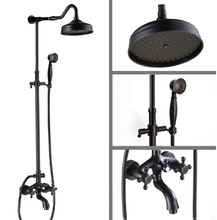 Black Oil Rubbed Brass Wall Mounted 8″ Rain Bathroom Shower Faucet Set Dual Cross Handle Bathtub Mixer Tap Crs754