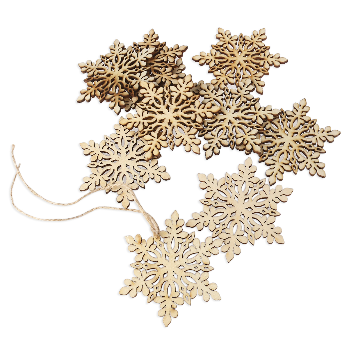 10pcs Christmas Snowflake DIY Wood Crafts Sharp Hexagonal Wooden Snowflake Hanging Ornament Decoration Pendants With String
