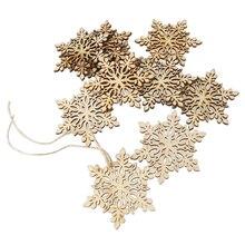 10pcs Christmas Snowflake DIY Wood Crafts Sharp Hexagonal Wooden Snowflake Hanging Ornament Decoration Pendants With String