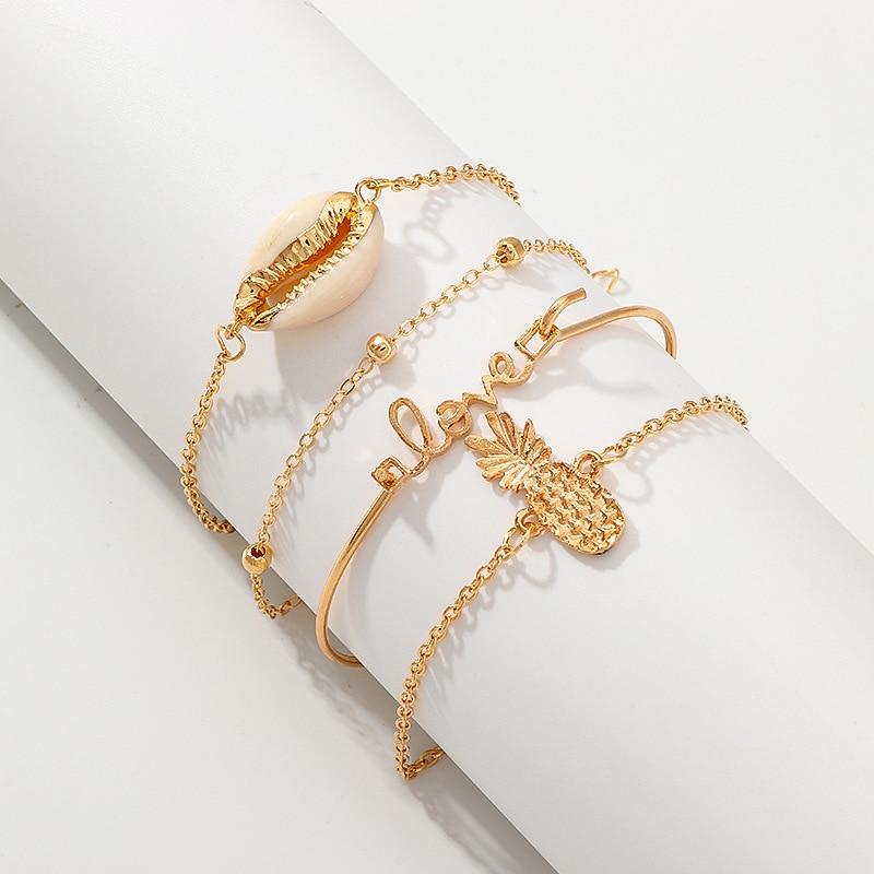 4 قطعة/المجموعة بوهو النساء أساور مجموعة العصرية البحر قذيفة الأناناس رسالة حب أساور أزياء الصيف الشاطئ المجوهرات بيجو هدية