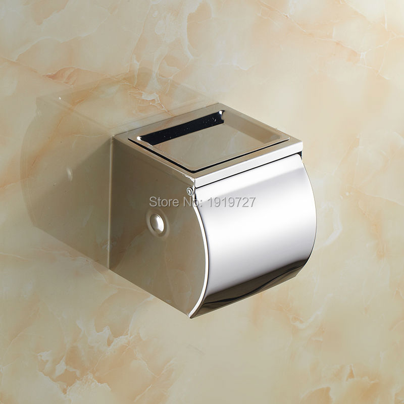 Wholesale And Promotions Retail Bathroom Chrome Finish Stainless Steel Wall Mounted Toilet Paper Roll Holder Tissue Box hot sale wholesale and retail promotion oil rubbed bronze wall mounted bathroom toilet paper holder tissue bar holder