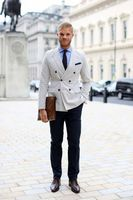 New Beige Double Breasted Man Suit Navy Blue Pants Slim Fit Blazer Mens Wedding Party Suits Business Male Costumes(Jacket+Pants)